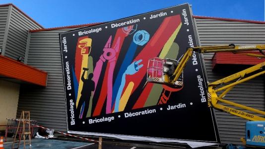 Les Briconautes - Cadre mural toile tendue 9x9m - Dpt 19